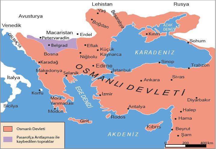 Pasarofça Antlaşması (1708) sonrası Balkanlar'da Osmanlı Devleti sınırları