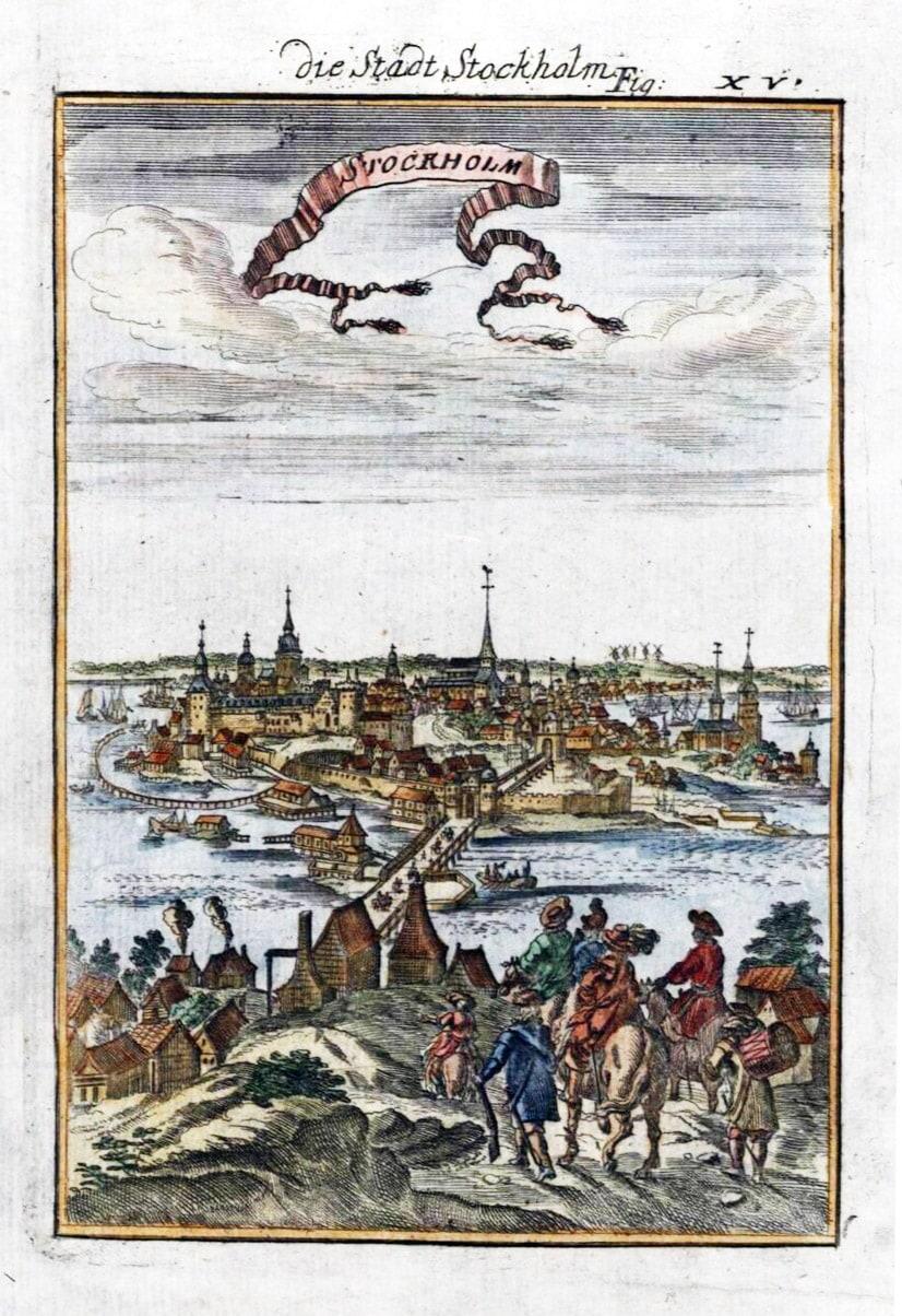 Stockholm Görünümü, Kağıt üstüne bakır baskı, (Fransız kartograf Alain Manesson Mallet için Frankfurt'ta basılmıştır), 20 x 15 cm. 1719