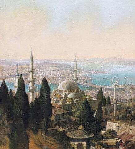 İstanbul Görünümü, Edmund Berni̇nger, 19. yüzyılın son çeyreği, Kâğıt üzerine suluboya, 38 x 28 cm