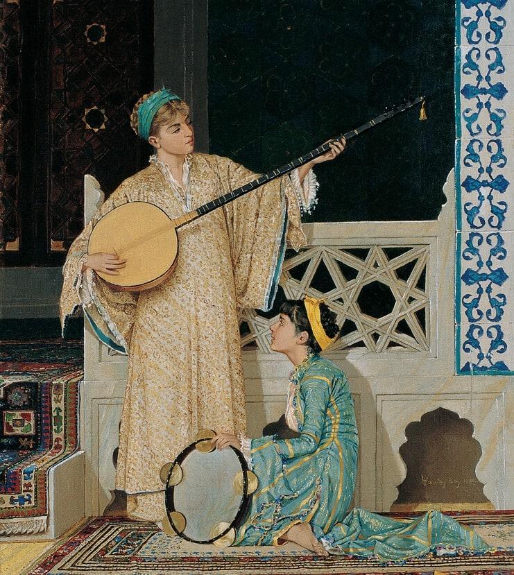 İki̇ Müzi̇syen Kız, Osman Hamdi̇ Bey, 1880, Tuval üzerine yağlıboya, 58 x 39 cm.