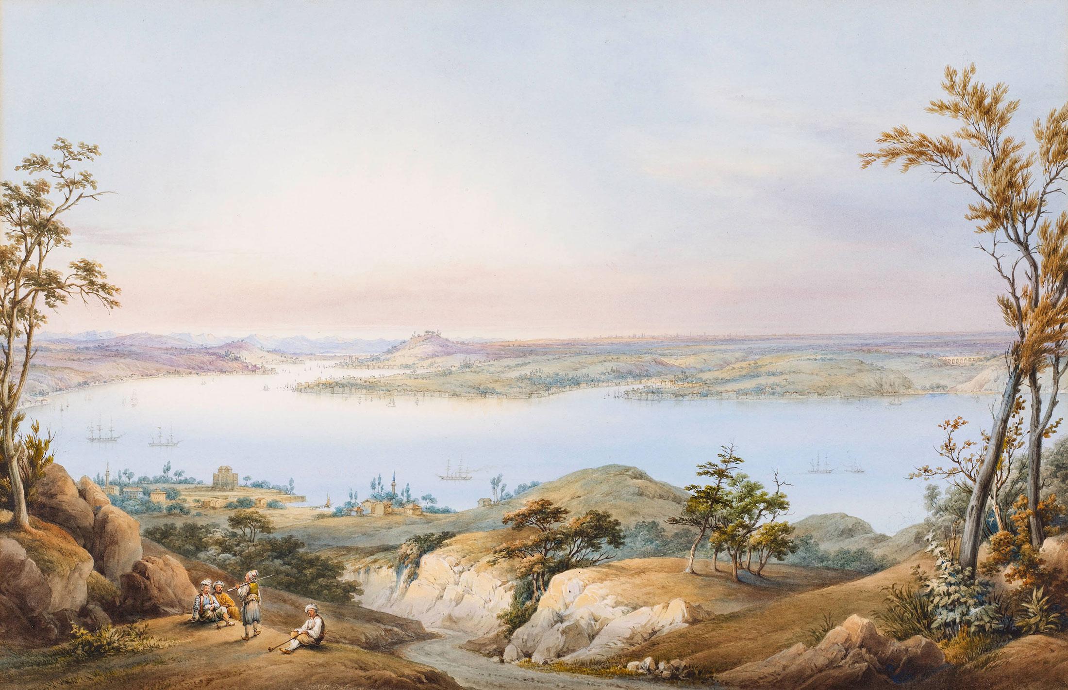 İstanbul Boğazı, Joseph (Guiseppe) Schranz (?), 19. yüzyıl ortaları, Kâğıt üzerine suluboya, 33 x 54 cm.