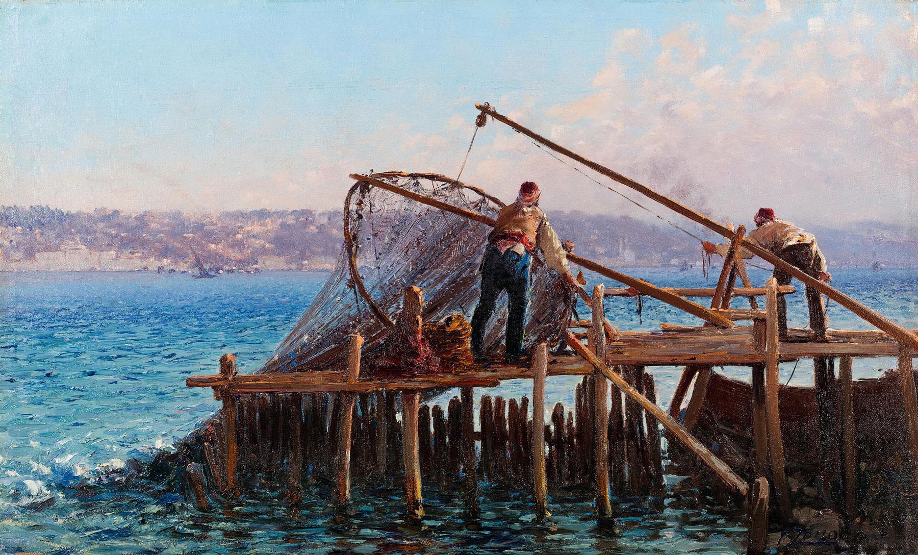 Ağ Toplayan Balıkçılar, Fausto Zonaro, Tuval üzerine yağlıboya, 1891 – 1910, 40,5 x 67 cm.